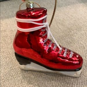 """Red Glass Ice Skate with Lace Bow Tie 5""""x5"""""""